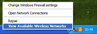 Right click on the wireless network icon and select View Available Wireless Networks.