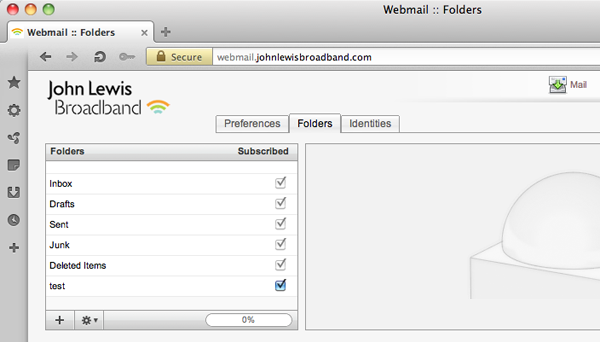 Managing webmail folders
